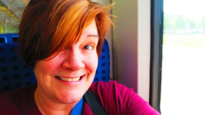 Lisa on train
